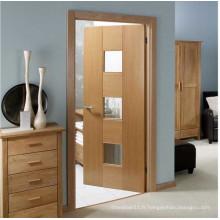 Porte de salle de bain en bois peint avec verre dépoli