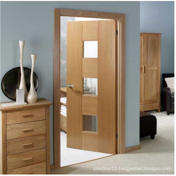 Painted wood bathroom door with frosted glass