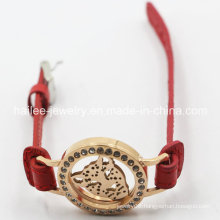 2015 New Model Stainless Steel Leather Bracelet with Locket