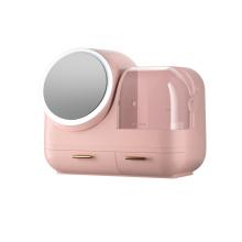 Caixa de armazenamento de maquiagem com espelho giratório iluminado 360 °