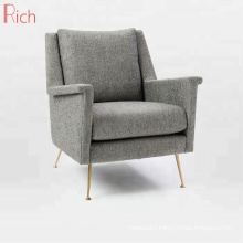 Nordic Modern Wholesale Furniture Designer Metal Legs Sofa Chair Gray Fabric Upholstered One Seater Couch