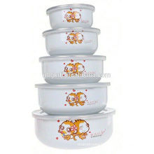 5pcs cute monkey enamel ice bowl /salad serving bowl with PE lid