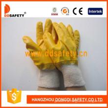 Luvas de trabalho de algodão revestindo nitrilo amarelo (DCN403)