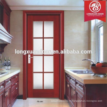 Conception en verre de porte de cuisine, porte en composite en bois massif