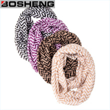 Women Soft Neon Coral Color Semi Sheer Chiffon Infinity Scarf