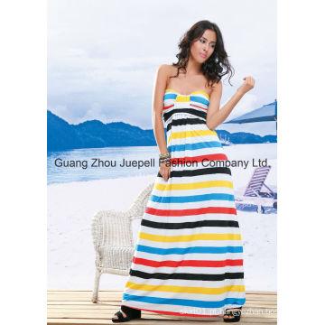 Muti Stripe Strapless Vestido Maxi