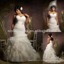 NY-2414 vestido de noiva de organza Ruffled
