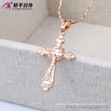 32396 Mode Simple Rose Or Jésus Croix Imitation Bijoux Chaîne Pendentif En Alliage Cuivre