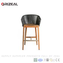 Chaise de bar en bois en plein air en teck avec tressage OZ-OR071