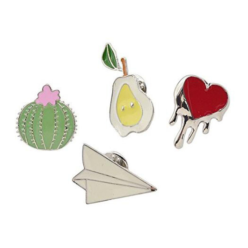 Cute Enamel Breastpin Paper Crane Collar Brooch Book Note Bottle Lapel Pin 1 Set