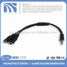 3.5mm fone de ouvido macho para 2 fêmea Y Splitter adaptador de cabo