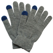 Fashion Grey Acrylic Knitted Touch Screen Magic Gloves (YKY5455)