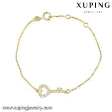 74364 форма сердца браслета способа xuping милая для дам с покрынным белым камнем