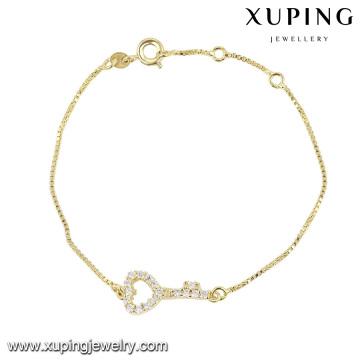 74364 xuping fashion bracelet en forme de coeur pour dames avec pierre blanche plaquée