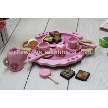 Hölzernes rosa Teespiel-hölzernes Spielzeugküche