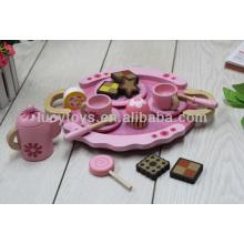 Conjunto de juego de té rosa de madera cocina de juguete de madera