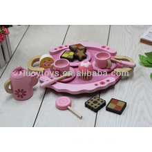 Jogo de chá de madeira rosa jogo cozinha de brinquedo de madeira