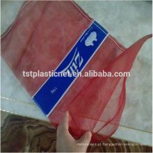 barato saco poli plástico vermelho da malha para o alho