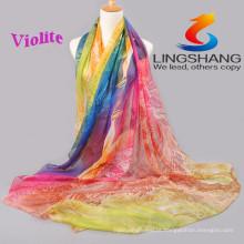 Os projetos os mais atrasados de Lingshang 2015 para o lenço mágico do pashmina do xaile do chiffon do lenço da gaze da cópia da flor do vestido da forma das senhoras novas