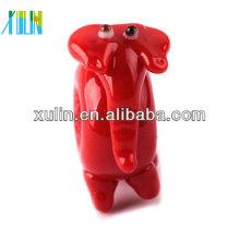 Perles en verre rouge brillant mini grand trou veau éléphant