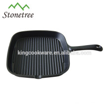 pre-seasoned square cast iron frying pan with long handle