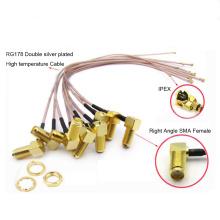 Jack de ángulo recto RP-SMA hembra para IPX U.fl Cable de extensión IPEX Connector RG178