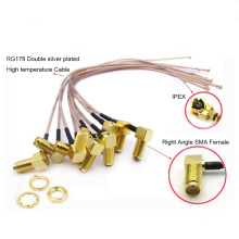 Right Angle RP-SMA Female Jack to IPX U.fl IPEX Connector RG178 Extension Cable
