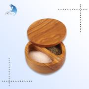 Promotion kitchen custom design wooden Bamboo salt box