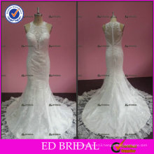ED Sexy Real Picture Mermaid Halter See Through Back Tulle Appliqued Wedding Dresses 2017