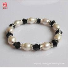 Weißer Reis Natürliche Perlen mit Achat Armband