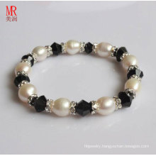 White Rice Natural Pearls with Agate Bracelet