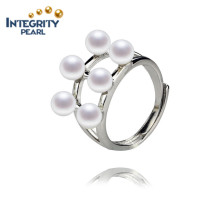 Fashion Design 4.5-5mm AA Round 925 Sterling Silver Pearl Rings