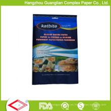 Sistema de papel de pergamino para hornear plegable de suministro al por menor en bolsas de polietileno