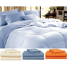 King Blue Striped Bed Sheet Set- 4 Pieces Set