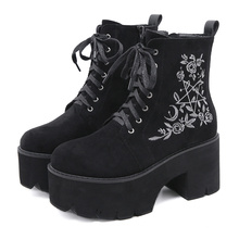 New design fashion luxury women winter platform boots suede embroidery Side zip lace up causal shoes for ladies