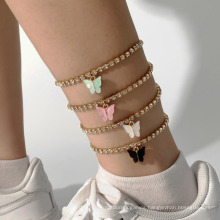 Temperament Joker Acrylic Small Butterfly Anklet Inlaid Diamond Chain Female
