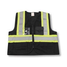Zipper Front Polyester Black Safety Vest