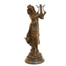 Музыка-Деко Латунь Статуя Классические Женские Ремесла Бронзовая Скульптура Т-991