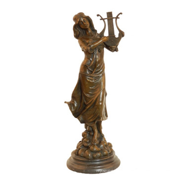 Music Deco Brass Statue Clássico Feminino Ofício Escultura De Bronze Tpy-991