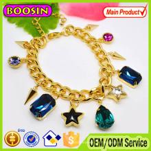 Pulseira de cristal de safira austríaca da moda feminina / pulseira de rosário de cristal banhado a ouro
