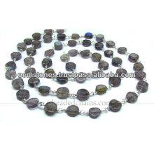 Vermeil Smooth Coin Gemstone Beaded Chain, Gemstone Bezel Jewelry