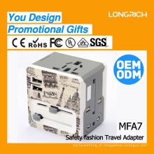 2016 presente promocional novo produto LongRich universal travel plug with usb