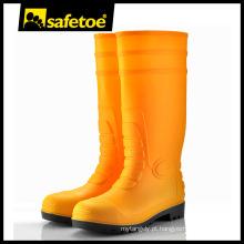 Aço toe amarelo pvc botas, botas de chuva moldado, pvc segurança boot S5 W-6038Y