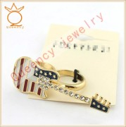 Latest Arrival Rhinestone Crystal USA Ring, Custom Jewelry fashion guitar Ring