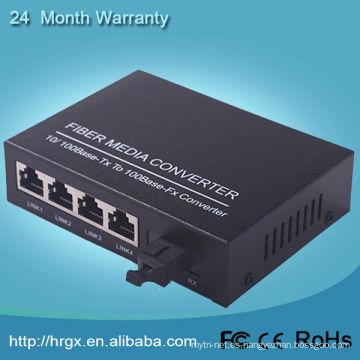 Convertidor de medios de fibra óptica Humanity 1 fibra 4 ethernet 10 / 100m ctc