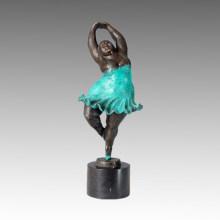 Dancer Bronze Sculpture Chubby Lady Home Decor Brass Statue TPE-356