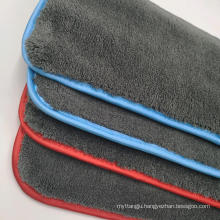 OEM super absorption coral fleece binding hanging kitchen dish hand towel