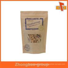 Bolsas de embalaje de alimentos de papel de kraft cremallera aséptico con cierre de cremallera con logo print