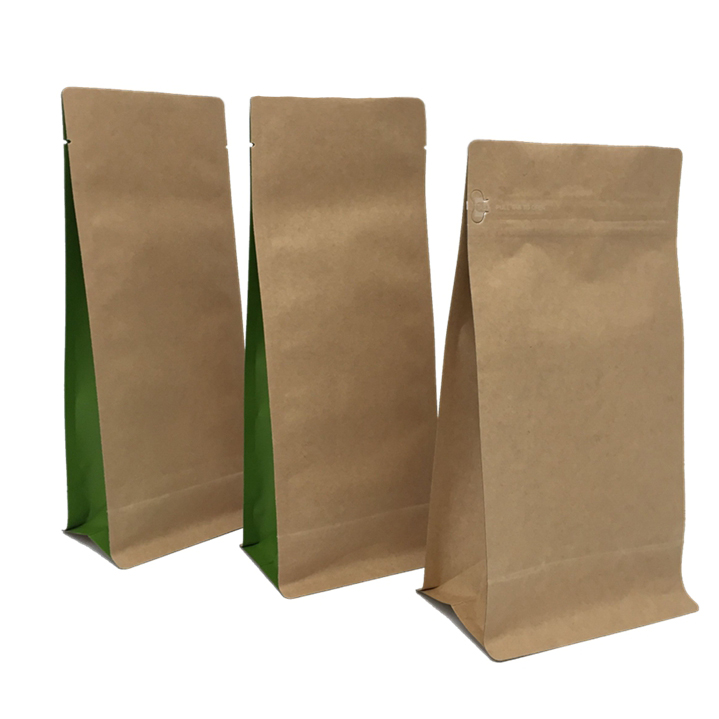 Organic Laminate Kraft Paper Stand Up Zipper Pouches