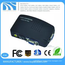 Compuesto de alta calidad AV to VGA adaptador Convertidor Vídeo compuesto RCA (CVBS) y S-Video a VGA Converter